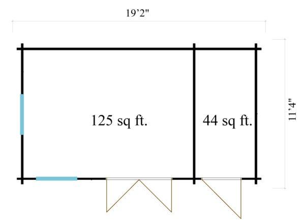 Classical garden house Clockhouse BRADFORD 44 | 5.9 x 3.5 m (19'2'' x 11'4'') 44mm 8