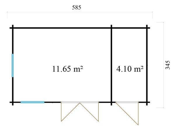 Garden room Clockhouse BRADFORD 70 | 5.9 x 3.5 m (19'2'' x 11'4'') 70mm 8