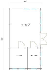 Wooden summer house Clockhouse BRISTOL 44 | 4.4 x 8.2 m (14'5'' x 26'11'') 44 mm 9