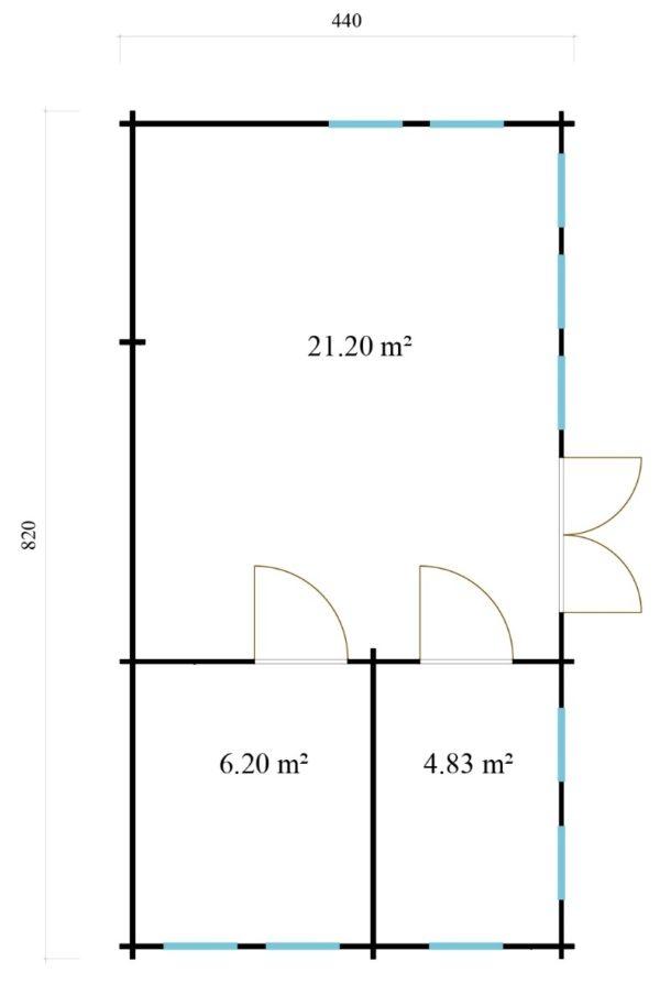 Wooden summer house Clockhouse BRISTOL 44 | 4.4 x 8.2 m (14'5'' x 26'11'') 44 mm 7