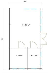 3-room classical garden house BRISTOL 70 | 4.4 x 8.2 m (14'5'' x 26'11'') 70 mm 9