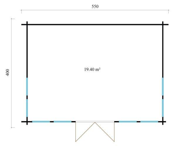 Gable roof garden house Clockhouse LONDON 70   5.5 m x 4 m (18' x 13'2'') 70 mm 6