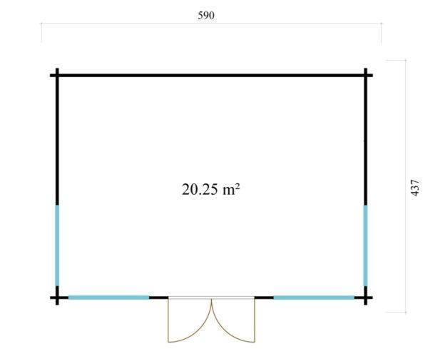 Double-door garden cabin Clockhouse WAKEFIELD 70 | 5.9 x 4.4 m (19'4'' x 14'4'') 70 mm 7