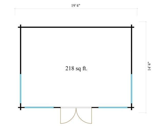Double-door garden cabin Clockhouse WAKEFIELD 70 | 5.9 x 4.4 m (19'4'' x 14'4'') 70 mm 8