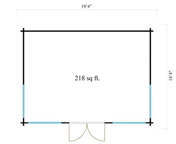 Double-door garden cabin Clockhouse WAKEFIELD 70   5.9 x 4.4 m (19'4'' x 14'4'') 70 mm 7