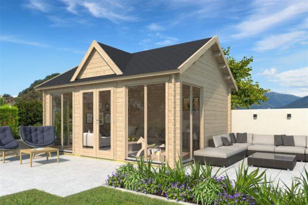 Double-door garden cabin Clockhouse WAKEFIELD 70 | 5.9 x 4.4 m (19'4'' x 14'4'') 70 mm 1
