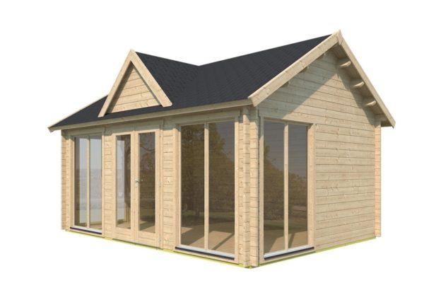 Double-door garden cabin Clockhouse WAKEFIELD 70 | 5.9 x 4.4 m (19'4'' x 14'4'') 70 mm 3