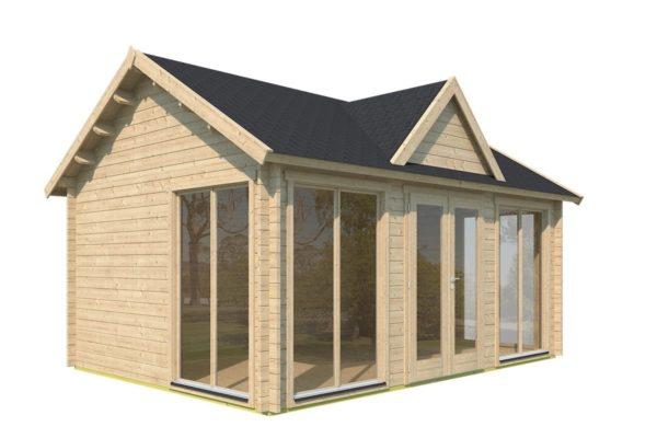 Double-door garden cabin Clockhouse WAKEFIELD 70 | 5.9 x 4.4 m (19'4'' x 14'4'') 70 mm 6
