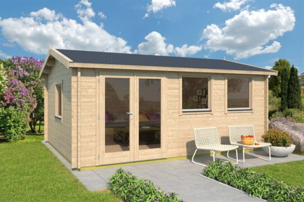 Simple gable roof garden cabin DAVOS 70 | 5.6 x 4.4 m ( 18'2'' x 14'2'') 70 mm 1