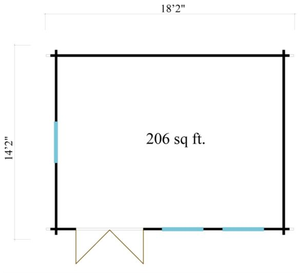 Simple gable roof garden cabin DAVOS 70 | 5.6 x 4.4 m ( 18'2'' x 14'2'') 70 mm 7
