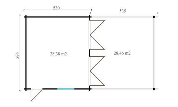 DOUBLE GARAGE AND CARPORT 44 for 4 vehicles | 10.6m x 5.3m (35' x 19' 6'') 44mm 7