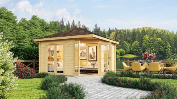 Five-corner wooden garden shed FARGO 44 B | 3.8 x 3.8 m (12'6'' x 12'6'') 44 mm 2