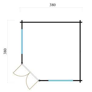 Five-corner wooden garden shed FARGO 44 B   3.8 x 3.8 m (12'6'' x 12'6'') 44 mm 8
