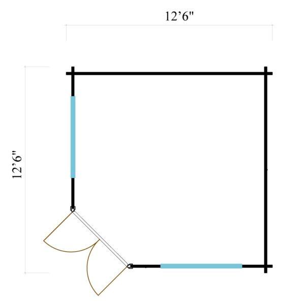 Five-corner wooden garden shed FARGO 44 B   3.8 x 3.8 m (12'6'' x 12'6'') 44 mm 7