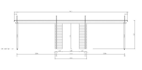 Two carports with a shed, the HANS 44 | 9.6m x 6.1m (31' 6'' x 20' 1'') 44mm 10