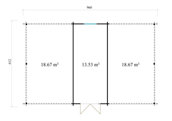 Two carports with a shed, the HANS 44 | 9.6m x 6.1m (31' 6'' x 20' 1'') 44mm 11