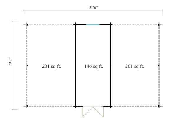 Two carports with a shed, the HANS 44 | 9.6m x 6.1m (31' 6'' x 20' 1'') 44mm 12