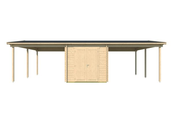 Two carports with a shed, the HANS 44 | 9.6m x 6.1m (31' 6'' x 20' 1'') 44mm 4