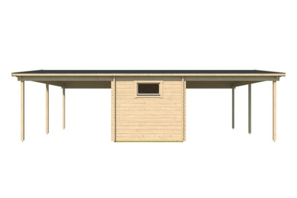 Two carports with a shed, the HANS 44 | 9.6m x 6.1m (31' 6'' x 20' 1'') 44mm 6