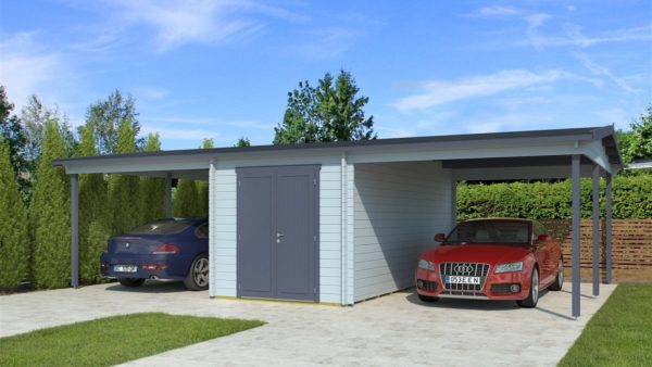 Two carports with a shed, the HANS 44 | 9.6m x 6.1m (31' 6'' x 20' 1'') 44mm 1
