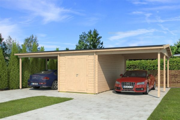Two carports with a shed, the HANS 44 | 9.6m x 6.1m (31' 6'' x 20' 1'') 44mm 2