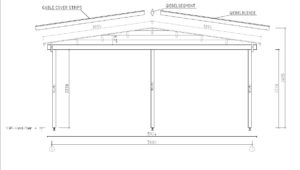 Wooden carport for 2 vehicles HANS 70 | 9.6 m x 6.1 m (31'6'' x 20'1'') 70 mm 13