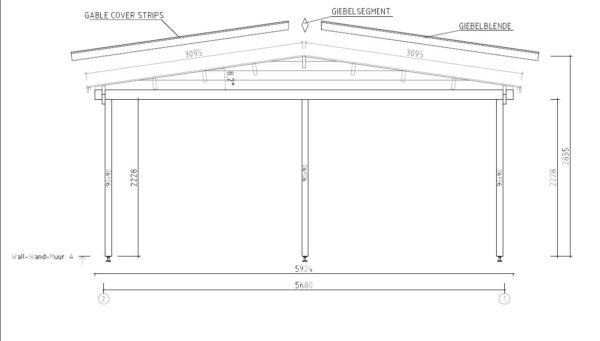 Wooden carport for 2 vehicles HANS 70 | 9.6 m x 6.1 m (31'6'' x 20'1'') 70 mm 10