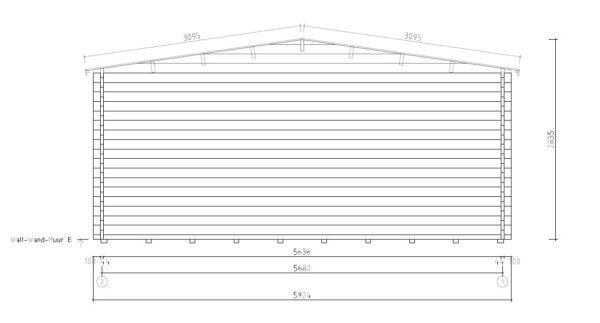 Wooden carport for 2 vehicles HANS 70 | 9.6 m x 6.1 m (31'6'' x 20'1'') 70 mm 9