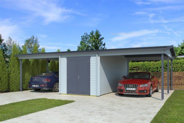Wooden carport for 2 vehicles HANS 70 | 9.6 m x 6.1 m (31'6'' x 20'1'') 70 mm 1