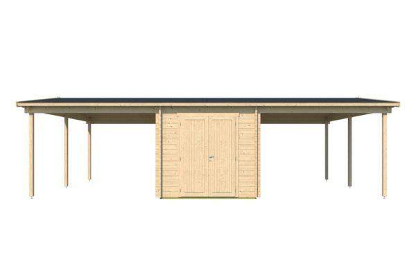 Wooden carport for 2 vehicles HANS 70 | 9.6 m x 6.1 m (31'6'' x 20'1'') 70 mm 4