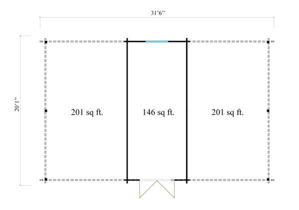 Wooden carport for 2 vehicles HANS 70 | 9.6 m x 6.1 m (31'6'' x 20'1'') 70 mm 11