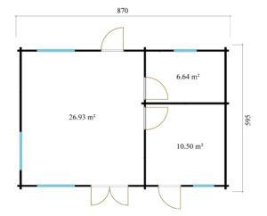 3-room modern garden house HENNING 70   8.7 x 6 m (28'7'' x 19'6'') 70 mm 16