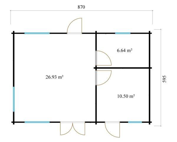 3-room modern garden house HENNING 70   8.7 x 6 m (28'7'' x 19'6'') 70 mm 14
