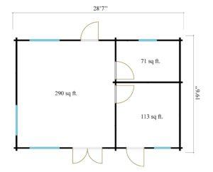 3-room modern garden house HENNING 70   8.7 x 6 m (28'7'' x 19'6'') 70 mm 15