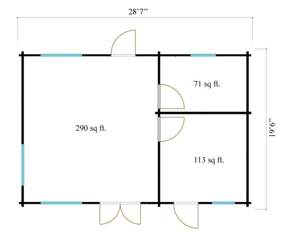3-room modern garden house HENNING 70   8.7 x 6 m (28'7'' x 19'6'') 70 mm 13