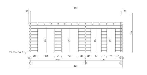 3-room modern garden house HENNING 70 | 8.7 x 6 m (28'7'' x 19'6'') 70 mm 12