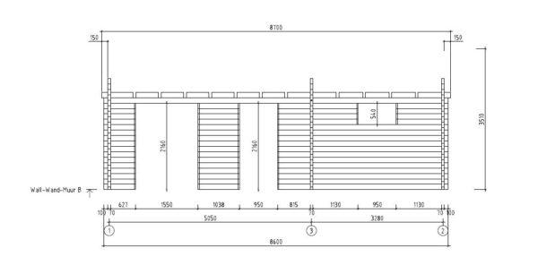 3-room modern garden house HENNING 70   8.7 x 6 m (28'7'' x 19'6'') 70 mm 8