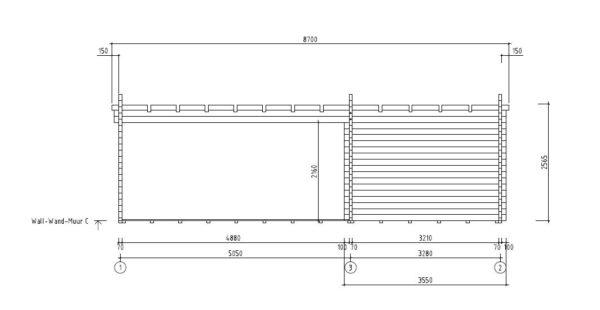 3-room modern garden house HENNING 70 | 8.7 x 6 m (28'7'' x 19'6'') 70 mm 10