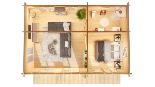 3-room modern garden house HENNING 70 | 8.7 x 6 m (28'7'' x 19'6'') 70 mm 2