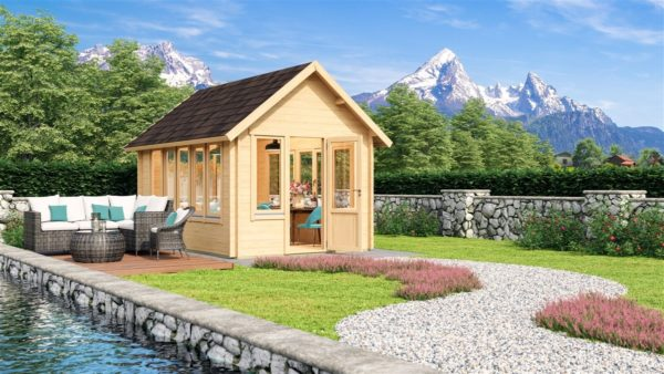 Garden room with a gable roof JURA 44 | 3.6 x 5 m (11'10'' x 16'8'') 44 mm 1