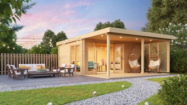 A modern timber cabin with a terrace, the KAARLO 44 | 6m x 6.8m (19' 7'' x 22' 4'') 44mm 1