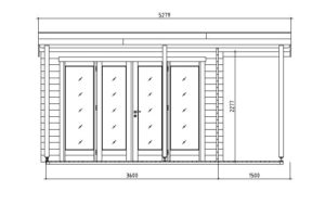 Contemporary wooden cabin KENO 70 with a terrace   5.2 m x 6.5 m (17'1'' x 21'4'') 70 mm 16