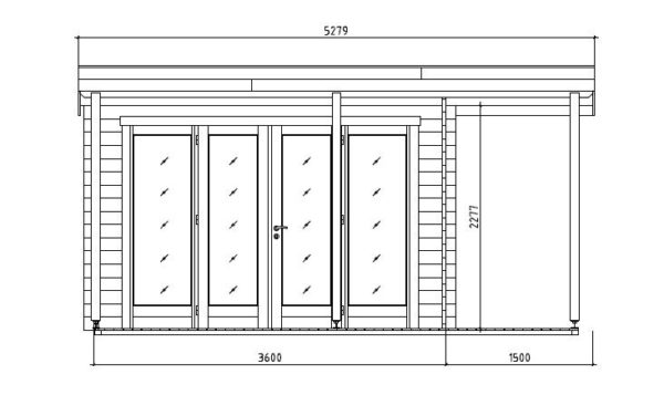 Contemporary wooden cabin KENO 70 with a terrace   5.2 m x 6.5 m (17'1'' x 21'4'') 70 mm 9