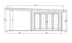 Contemporary wooden cabin KENO 70 with a terrace   5.2 m x 6.5 m (17'1'' x 21'4'') 70 mm 17