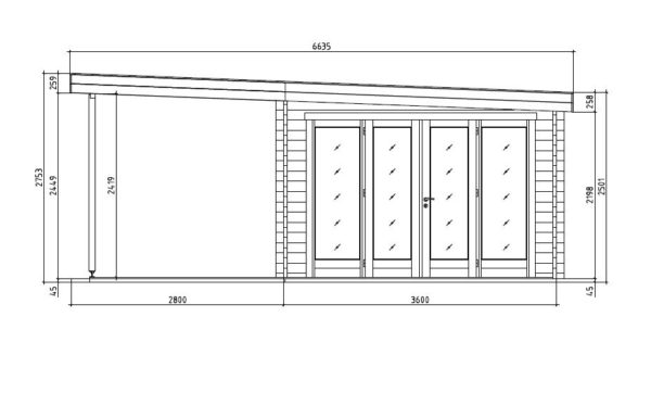 Contemporary wooden cabin KENO 70 with a terrace   5.2 m x 6.5 m (17'1'' x 21'4'') 70 mm 10