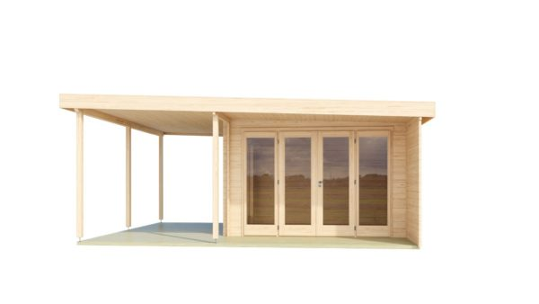 Contemporary wooden cabin KENO 70 with a terrace   5.2 m x 6.5 m (17'1'' x 21'4'') 70 mm 2