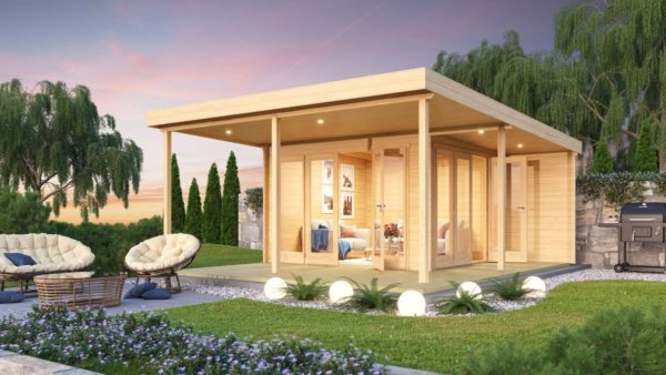 Contemporary wooden cabin KENO 70 with a terrace   5.2 m x 6.5 m (17'1'' x 21'4'') 70 mm 1