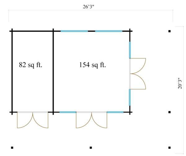 Modern garden annexe KILIAN 44 | 8 x 6.2 m (26'3'' x 20'3'') 44 mm 7