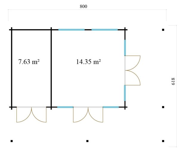 Modern garden annexe KILIAN 44 | 8 x 6.2 m (26'3'' x 20'3'') 44 mm 6