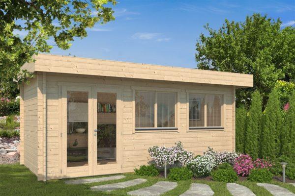 Modern corner shed KURT 44 A | 6.1 x 3.6 m (19'11'' x 11'10'') 44 mm 1